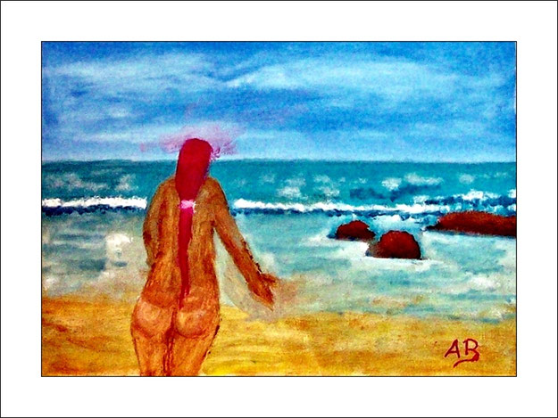 Meerlandschaft mit blauem Wolkenhimmel. Blaues Meer mit Wellen und Gischt. Felsen und nackte Frau am Strand. Ölgemälde