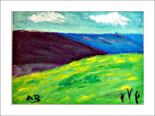 Hügellandschaft mit bewölktem Himmel und graublau und blauen Hügeln im Hintergrund. Rapsfeld und See im Vordergrund.Ölmalerei.