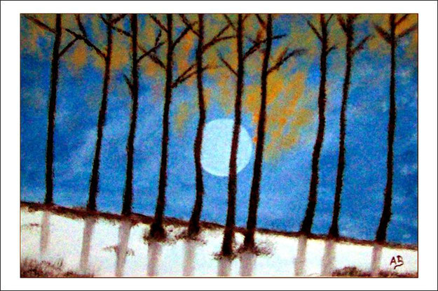 Winterlandschaft-Ölmalerei-Nacht-Vollmond-Hügel-Berg-Bäume-Schnee-Ölbild-Ölgemälde