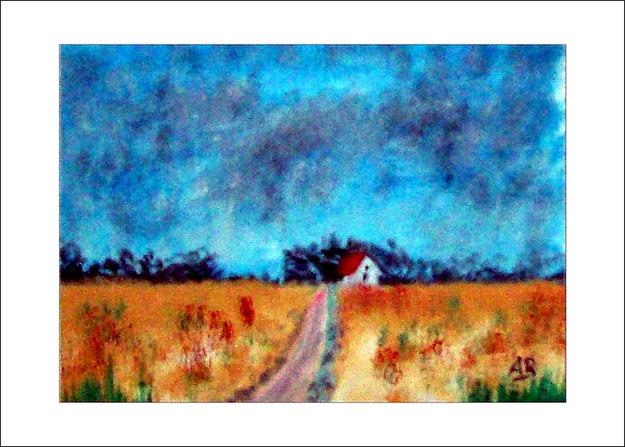 Landschaft-Felder und Wiesen-Bäume-Ölmalerei-Ölbild-Wald-Blumen-Weg-Haus-Gemälde