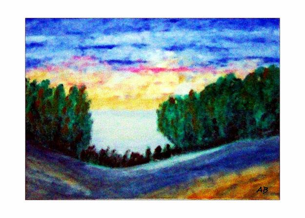 Landschaft-Ölbild-Wald-Bäume-Wiese-Blumen-Feld-Ölmalerei-Gemälde-Ölgemälde