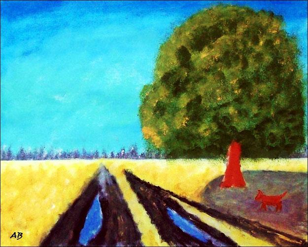 Landschaft-Felder-Sommer-Ölmalerei-Bäume-Weg-Wasser-Baum-Hund-Landschaftsmalerei-Ölbild-Ölgemälde