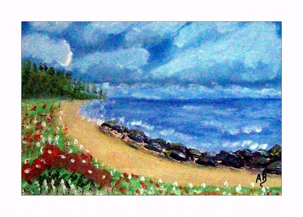 Landschaft-Meer-Strand-Küste-Meerlandschaft-Wald-Büsche-Blumen-Felsen-Steine-Ölmalerei-Gemälde