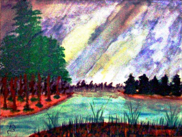 Landschaft, Hintergrund: Abendhimmel und Baumreihe, Vordergrund: links ist ein Wald, rechts sind Bäume, Vorn istGras und Gebüsch