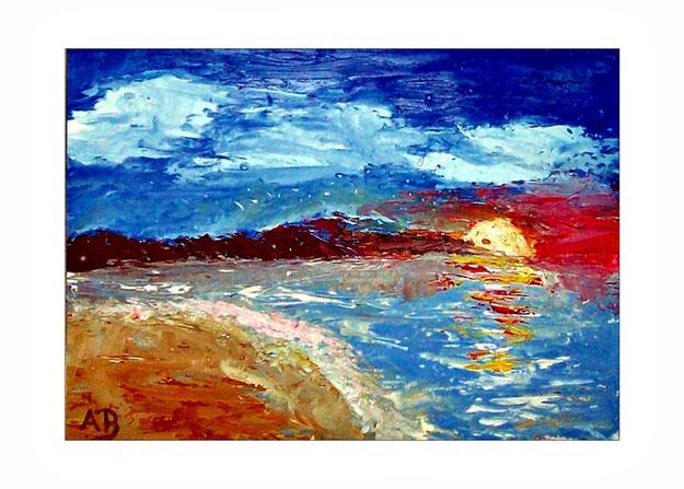 Küstenlandschaft-Ölgemälde-Meer-Strand-Steilküste-Sonne-Sonnenuntergang-Ölmalerei