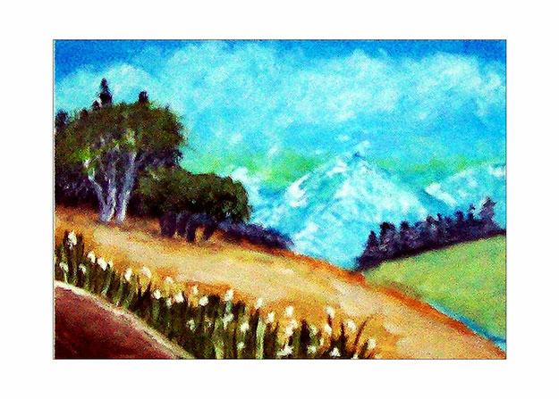 Berglandschaft-Hügel-Berge-LandschaftWald-Bäume-Wiese-BlumenFelsen-Sommer-Ölmalerei-Ölgemälde