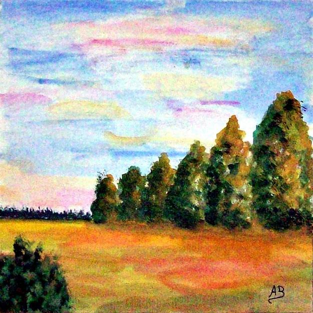 Landschaft-Weizenfelder-Wald-Bäume-Büsche-Blumen-Aquarell-Aquarellmalerei-Gemälde