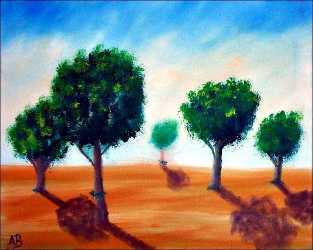 Baumlandschaft-Ölmalerei-Landschaft-Bäume-Wiese-Baum-Sommer-Ölbild-Ölgemälde
