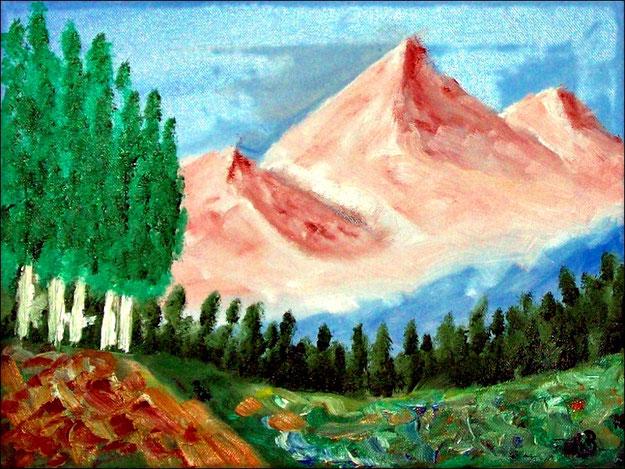 Berglandschaft-Ölmalerei-Landschaft-Berge-Schnee-Wald-Hügel-Bäume-Wiese-Blumen-Impressionismus-Malerei-Ölbild-Ölgemälde