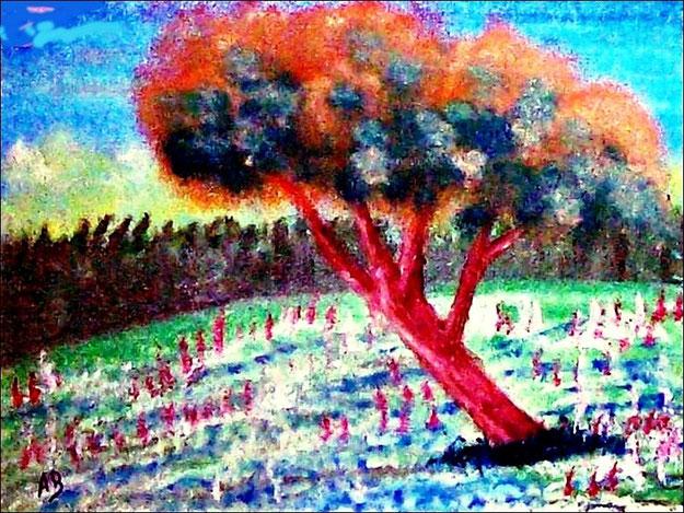Landschaft-Ölmalerei-Herbst-Schnee-Winter-Wald-Baum-Wiese-Feld-Ölbild-Ölgemälde