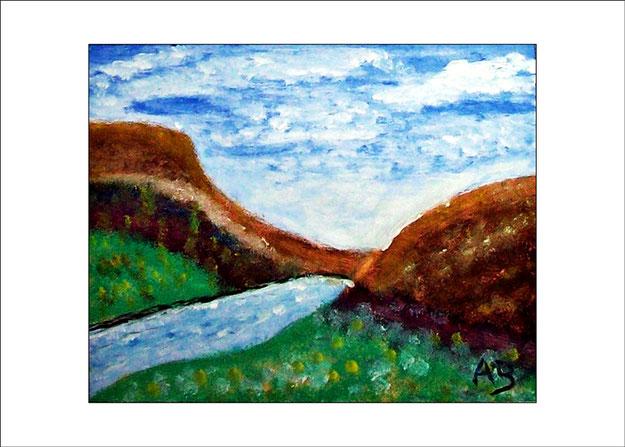 Berglandschaft mit wolkigem Himmel, Felsen, Bach,Wise und Blumen. Ölgemälde.