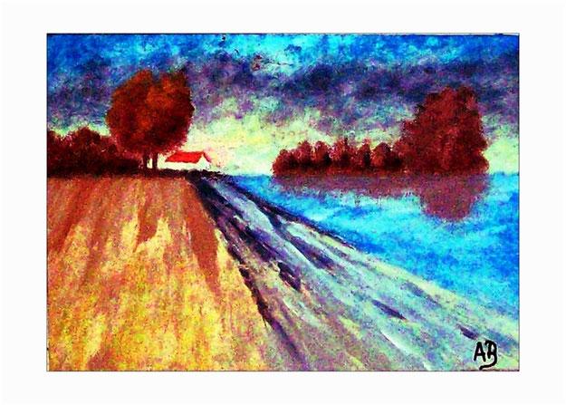 Landschaft-Flusslandschaft-Regenhimmel-Sonnenuntergang-Herbst-Wald Bäume-Fluss-Haus-Feld-Ölgemälde-Ölmalerei