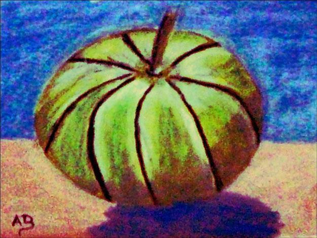 Stillleben, blauer Hintergrund, Vordergrund gelber Ocker mit Melone