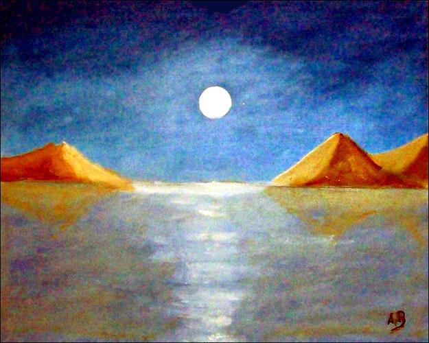 Meerlandschaft-Ölmalerei-Vollmond-Nacht-Mondlicht-Felsen-Berge-Küste-Bucht-Strand-Landschaft-Ölbild-Ölgemälde