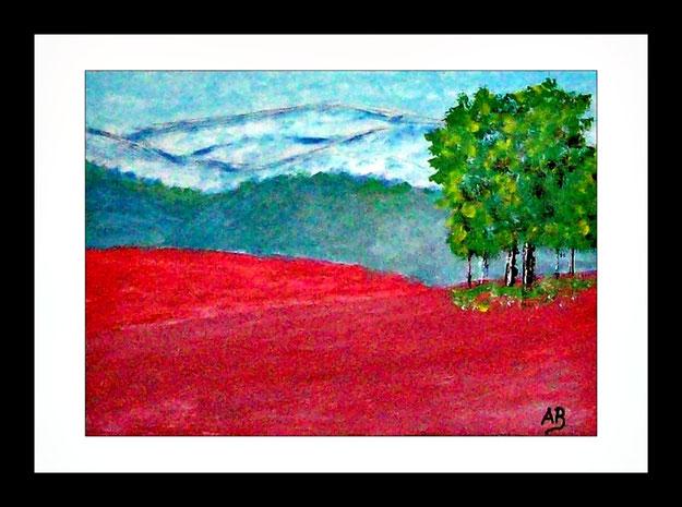 Landschaft-Abstrakt-Hügel-Wälder-Rote Erde-Bäume-Expressionismus-Ölgemälde-Ölmalerei