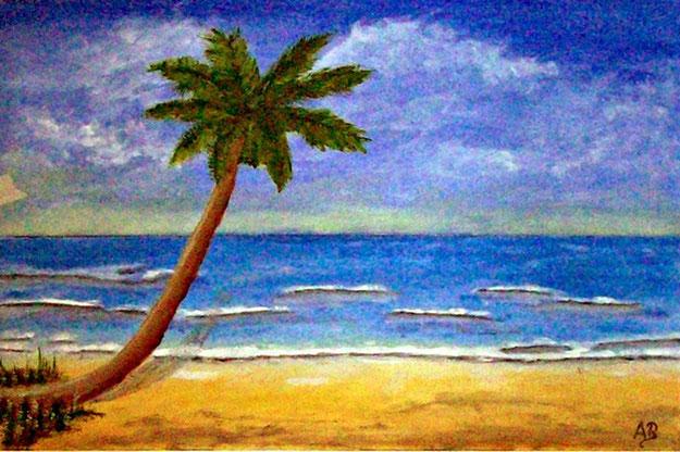 Strandlandschaft-Küste-Gemälde-Blauer Himmel-Meer mit leichten Wellen-Strand mit Palme-Ölmalerei