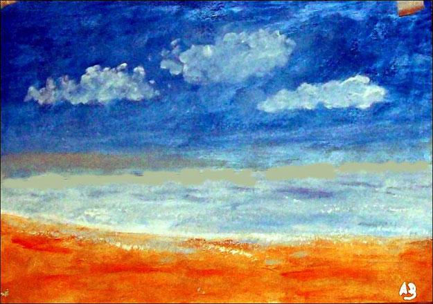 Meerlandschaft-Original Ölgemälde von Armin Behnert-Öl auf Malkarton-Bild 42 cm x 30 cm
