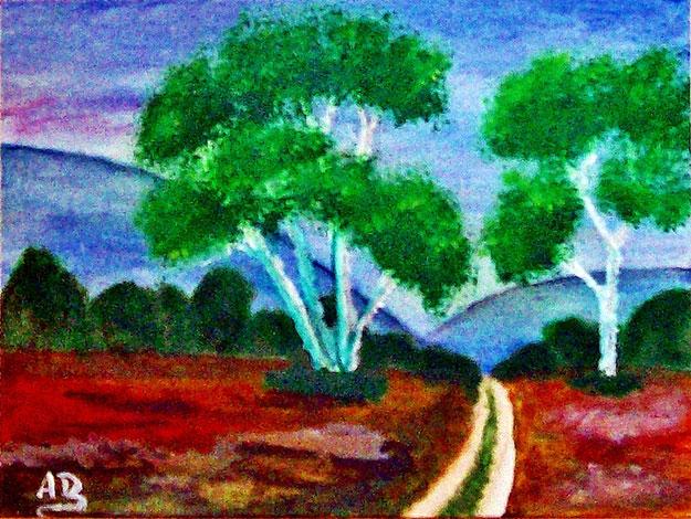 Berglandschaft mit blauem Himme, Hügeln und Bäume im Hintergrund. Rote Landschaft mit Bäumen und Weg im Vordergrund. Ölgemälde