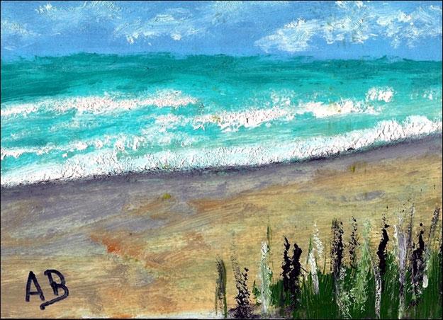 Meerlandschaft-Ölgemälde-Strand-Meer-Küste-Wellen-Ölmalerei-Ölbild