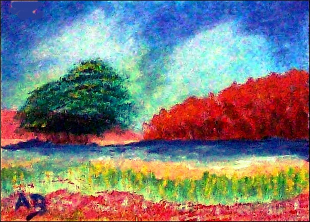 Flusslandschaft-Landschaft-Impressionismus-Wald-Bäume-Büsche-Wiese-Blumen-Fluss-Ölmalerei-Ölgemälde