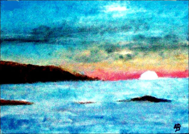Meerlandschaft-Ölmalerei-Küste-Felsen-Sonnenuntergang-Strand-Ozean-Ölbild-Landschaft-Ölgemälde