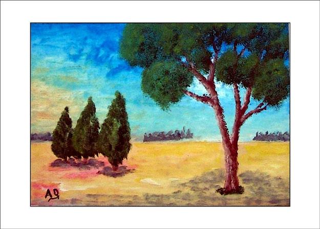 Landschaft in Öl mit blauem Himmel und Baumreihen im Hintergrund. Im Vordergrund sind Felder und Bäume. Ganz vorn ist ein großer Baum.