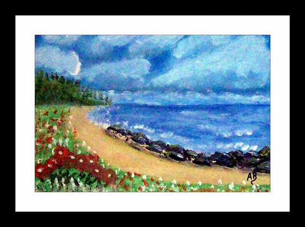 Landschaft-Meer-Küste-Strand-Blumen-Steine-Bäume-Ölmalerei-Gemälde