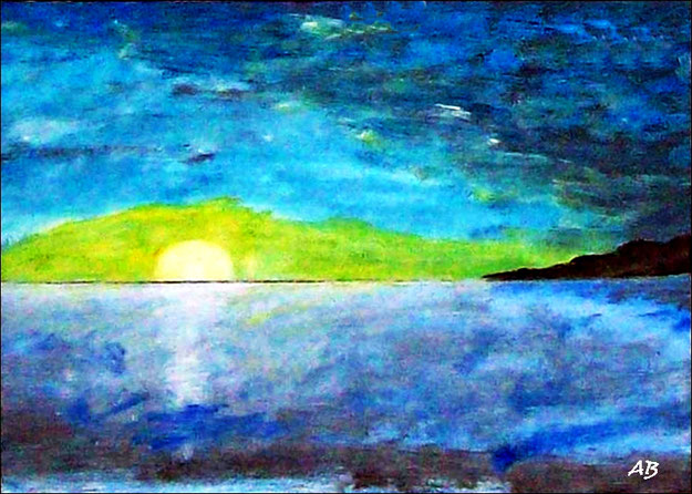 Meerlandschaft-Ölmalerei-Sonnenuntergang-Felsen-Küste-Ozean-Bucht_Ölbild-Ölgemälde