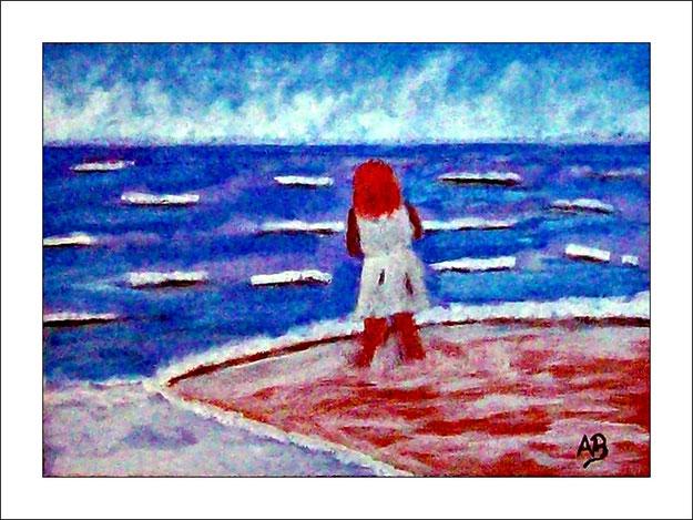 Meerlandschaft-Mädchen in weissem Kleid am Strand_Ölmalerei-Gemälde