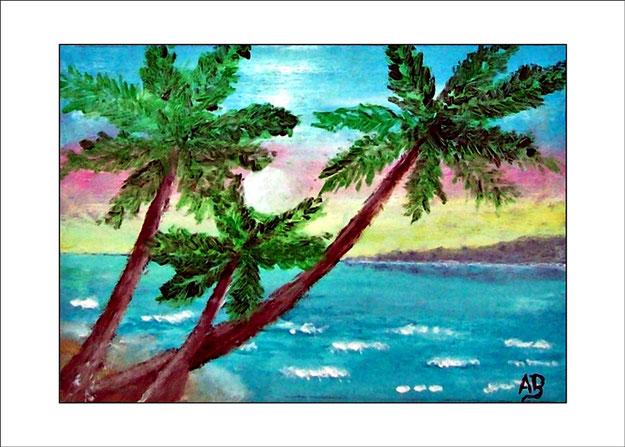 Meerlandschaft-Palmen-Ölmalerei-Landschaft-Küste-Felsen-Strand-Steilküste-Meer-Wellen-Wasser-Himmel-Wolken-Ölbild-Ölgemälde