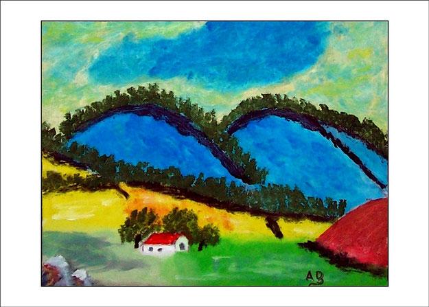 Expressionistische Berglandschaft mit blauen Bergen, Bäumen, Felsen, Büschen, Feldern und Haus-Ölgemälde