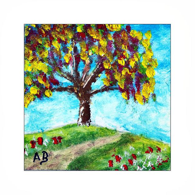 Berglandschaft-Frühling-Landschaft-Baum-Blüten-Blumen-Weg-Wiese-Ölgemälde-Ölmalerei