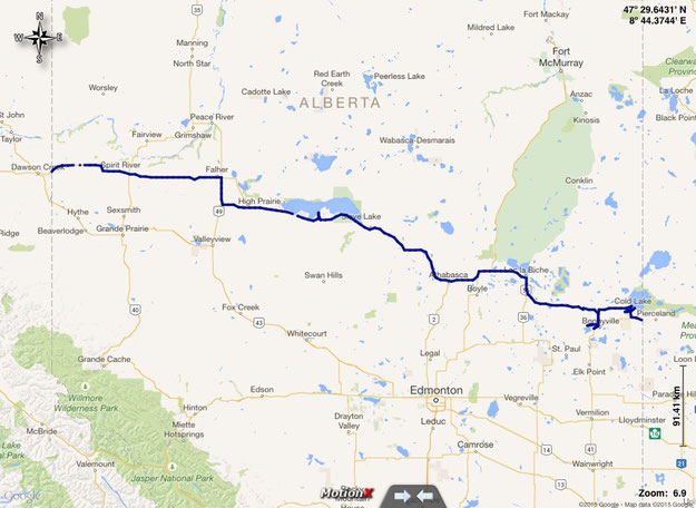 gefahrene Route in Alberta