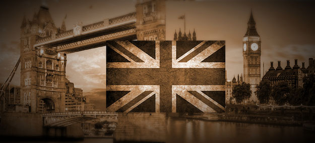 The Union Jack in front of the Tower Bridge and Big Ben.