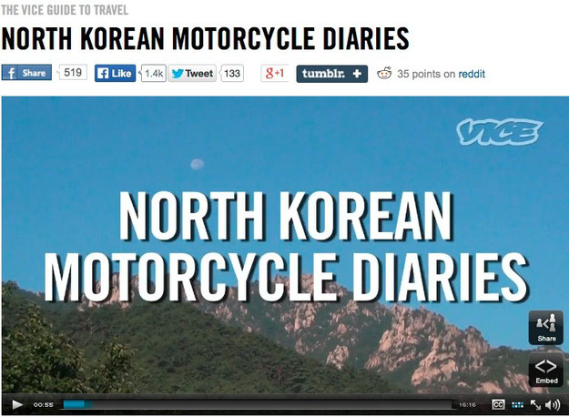 VICE Website North Korean Motorcycle Diaries