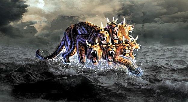 La bête à 7 têtes et 10 cornes monte de la mer, l'humanité agitée. Les 7 têtes sont les 7 puissances mondiales liées à l'histoire de la Bible. Les 10 cornes ou 10 rois symbolisent l'ensemble des nations.