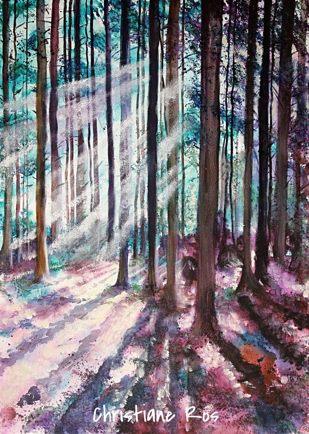 gemaltes Bild Lichteinfall Wald © Christiane Ros