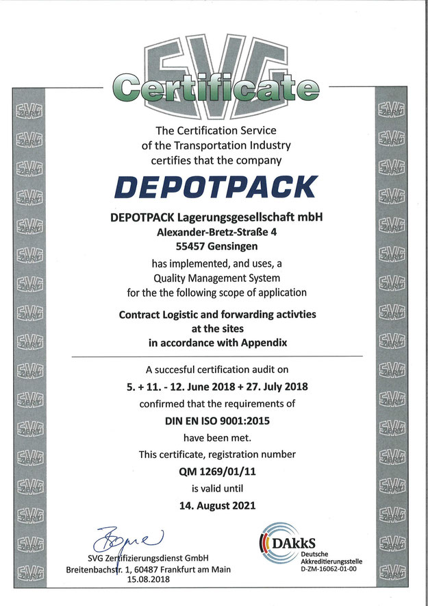 DEPOTPACK Zertifizierung