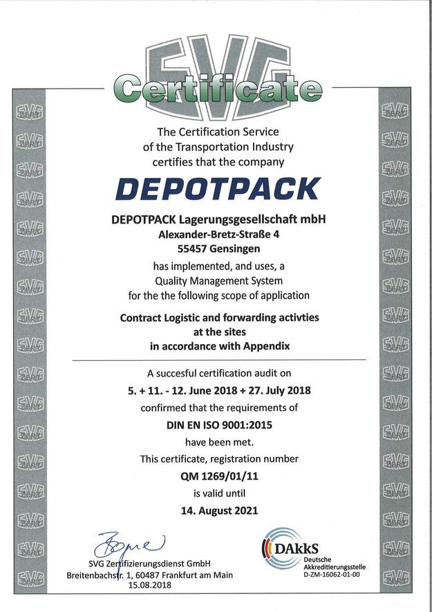 Zertifizierung - DEPOTPACK - Full-Service Logistik