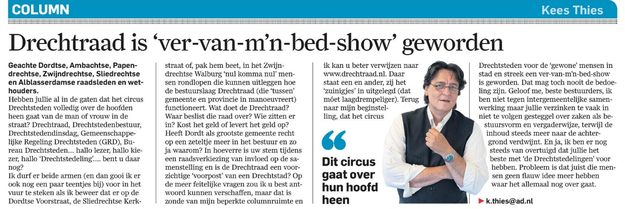 Column Kees Thies in AD Dordtenaar