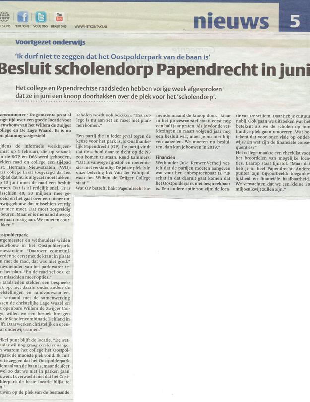 Artikel verschenen in het Papendrechts Nieuwsblad van woensdag 08-02-2017