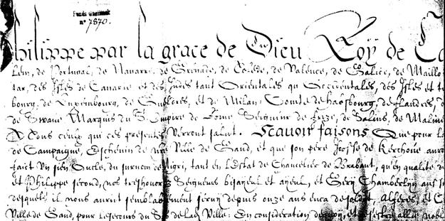 Extrait des lettres patentes (fort détériorées) de Jean de Kerchove (1640)