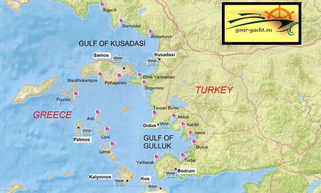 your-yacht.eu map kusadasi to bodrum