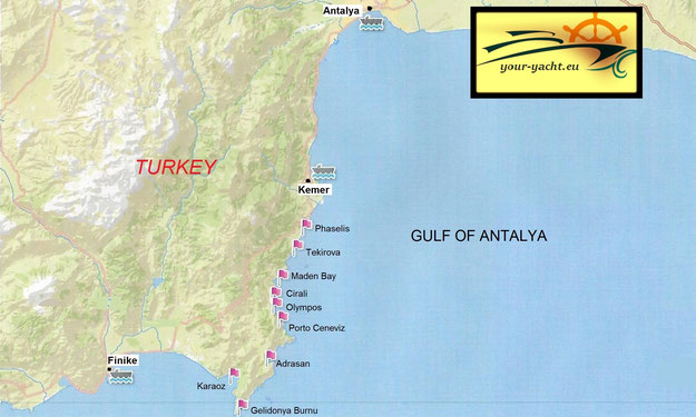 your-yacht.eu map finike to antalya