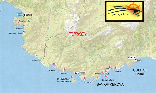 your-yacht.eu map fethiye to finike