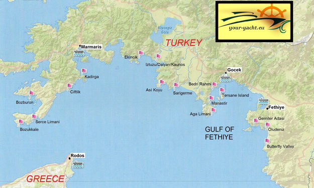 your-yacht.eu map marmaris to bodrum