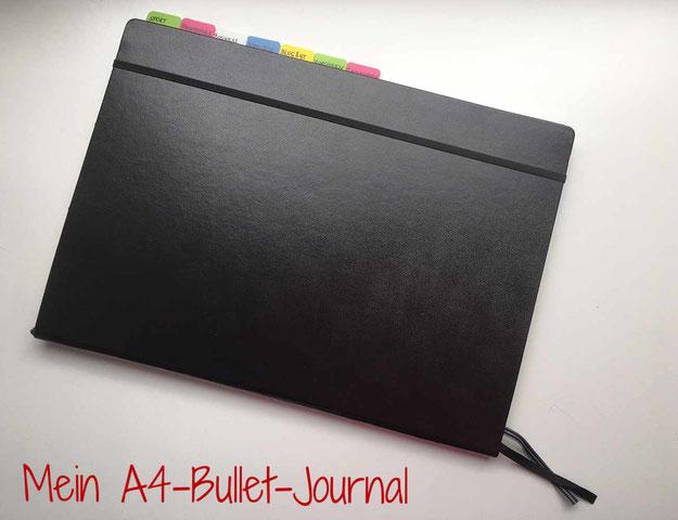 Mein BulletJournal von außen (schwarz und A4)