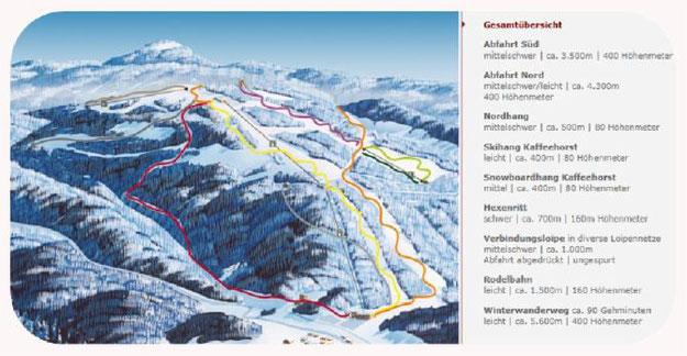Karte Skipisten Wurmberg Braunlage
