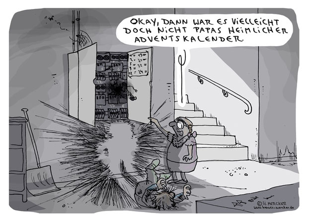 H. Mercker-Cartoon über die Adventszeit und ihre Tücken.