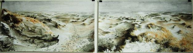 """""""Kelpies Kniepsand"""", Aquarell und Stifte, 2 x  50 x 90 cm, 2010, verkauft"""